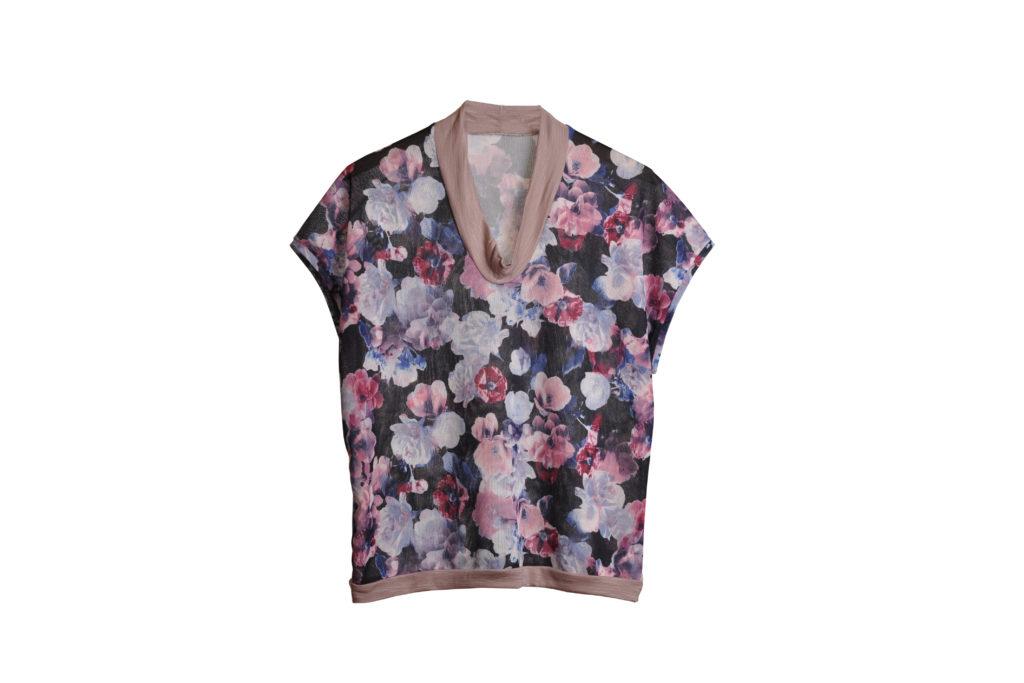 Bluza imprimeu floral bleumarin