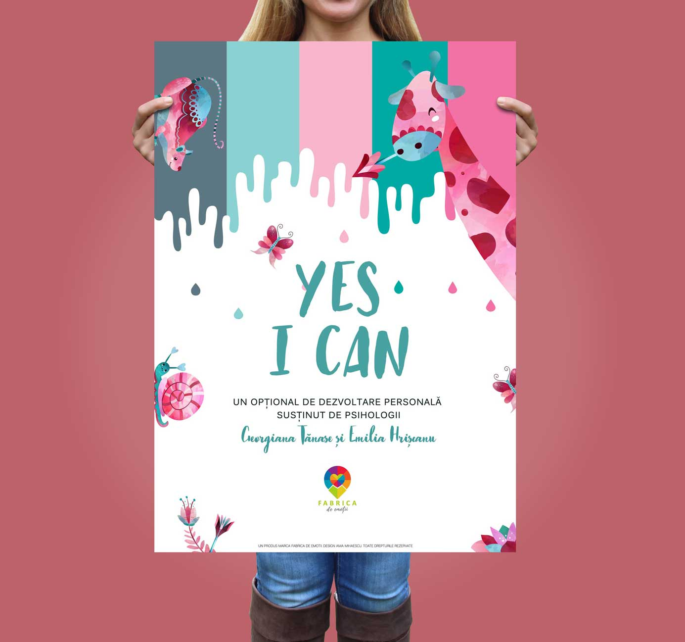 Mockup-Poster-Yes-I-can Fabrica de Emotii Ama Mihaescu Creative Studio